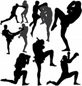 Muay Thai fight and wai kru ram muay (traditional dance before fight) vector silhouettes. Fully editable poster