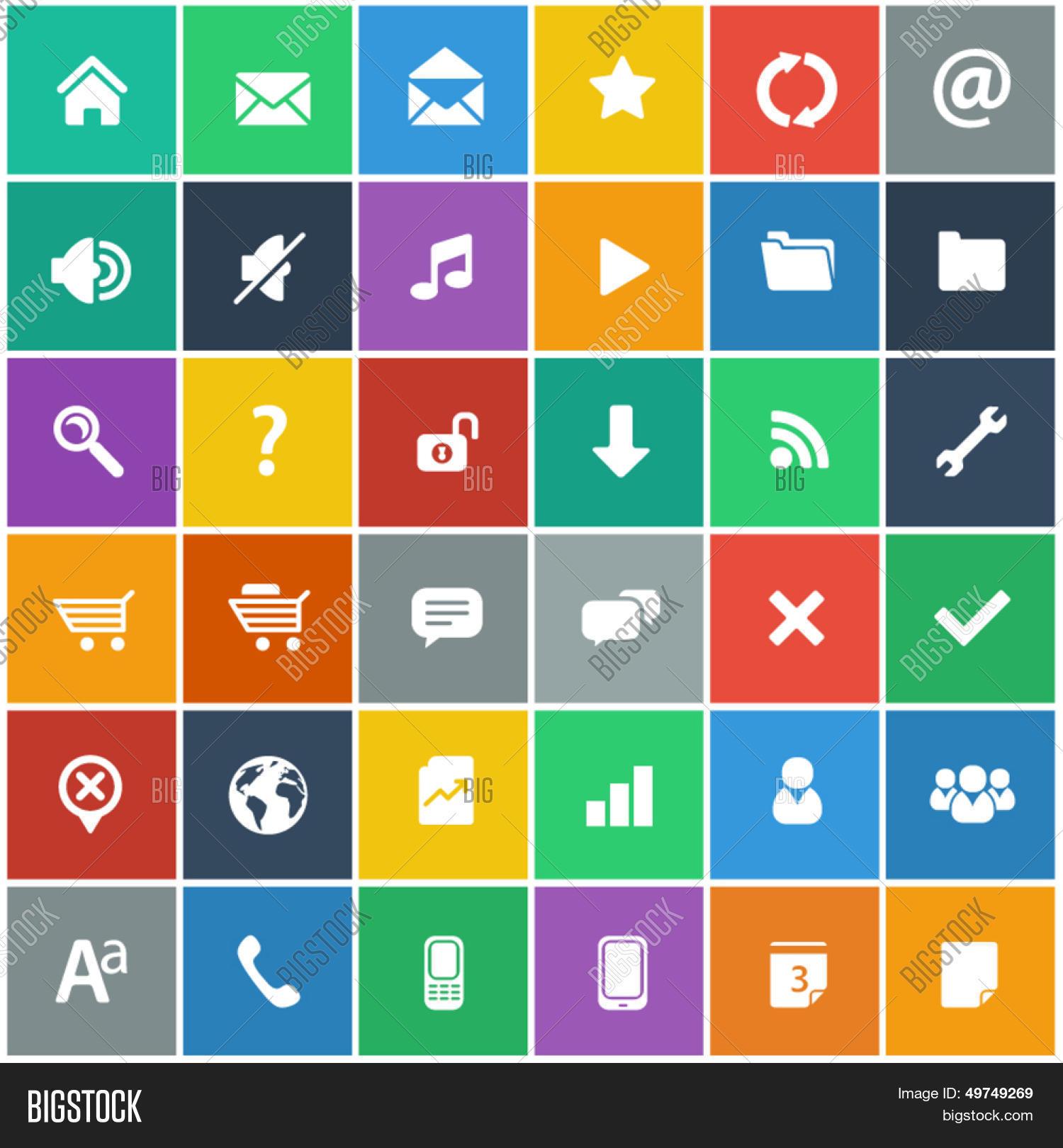 flat icons set - vector & photo (free trial) | bigstock