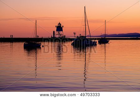 Sailboats And Lighthouse, Sunset, Grand Marais