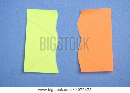 Torn Green And Orange Postits.