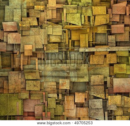 fragmented orangepink and yellow square tile grunge pattern backdrop poster