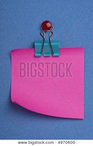 Pink Postit On Blue