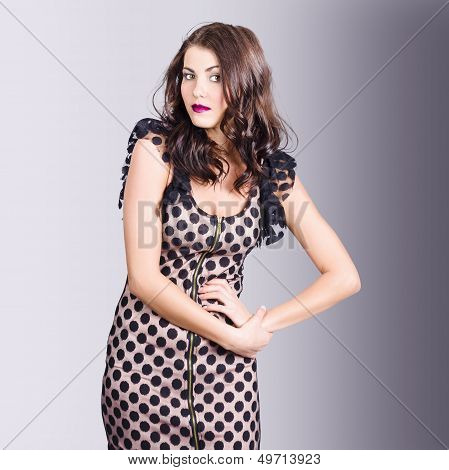 Beautiful Brunette Girl Wearing Retro Zipper Dress