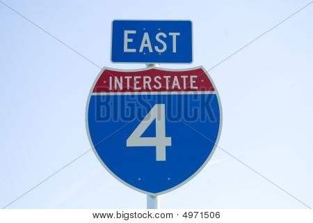 Interstate 4 East Road Sign