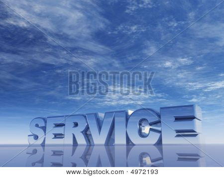the word service in front of blue sky - 3d illustration poster