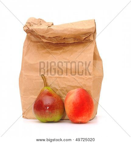 school lunch bag with fresh fruit on white