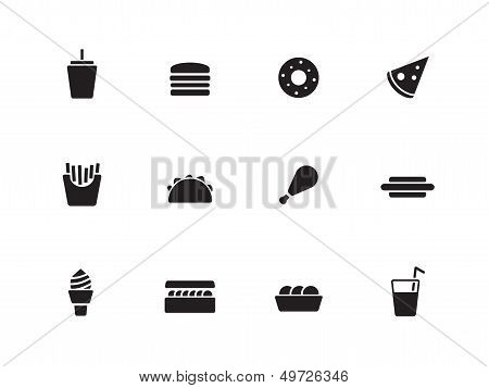 Fast food icons on white background.