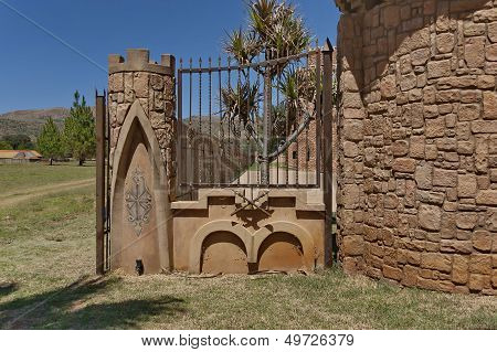 Fragment of fence with metal ornaments of Chateau de Nates, South Africa