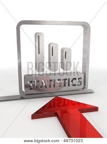3D Graphic Of A Decorative Statistics Label With Red Arrow