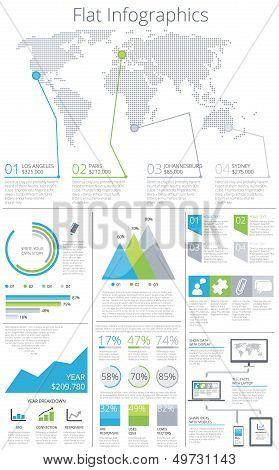 Big set of flat infographic elements vector illust