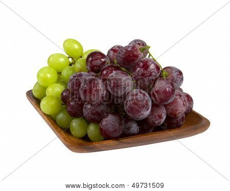Bunches Of Black And Green Grapes