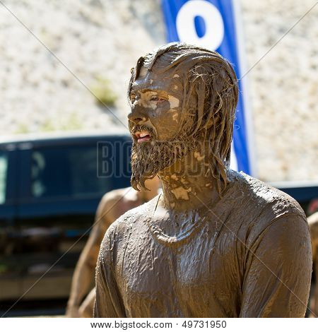 Boise, Idaho - August 25 - Unidentified Man Waits His Turn For One Of The Obstacles During The Dirty