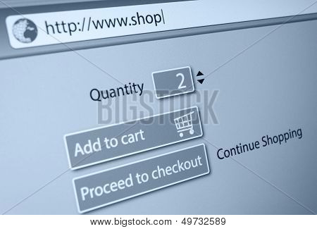 Online Shopping - url of fictitious online shop in address bar of web browser poster