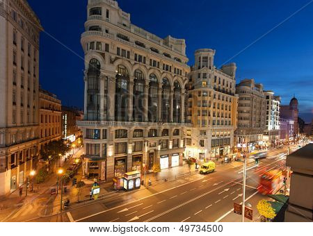 MADRID, SPAIN - MAY 9: night lighting  on Gran Vi�a street , 09 May, 2012 in Madrid, Spain. Gran Vi�a is an ornate and upscale shopping street located in central Madrid.