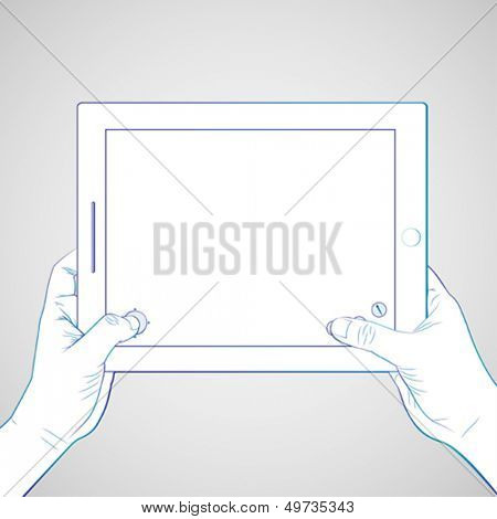 Hand play game at 10 inch tablet