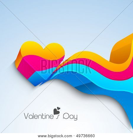 Happy Valentines Day background with 3D colorful heart with colorful waves on blue background.