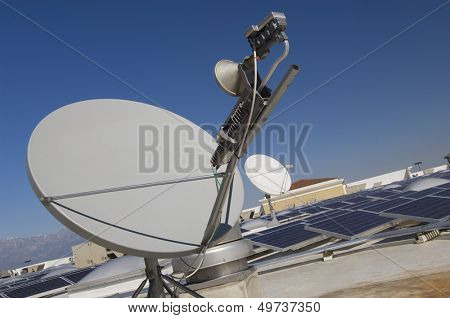Satellite Dish with Solar Panels at Solar Power Plant