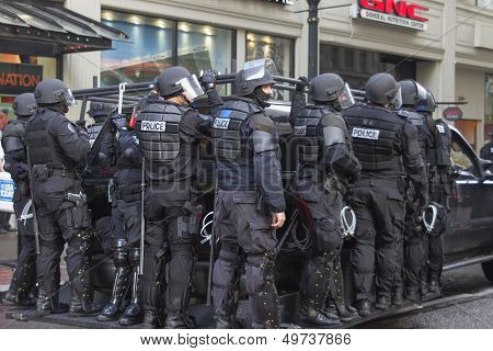 Portland Police In Riot Gear On Suv During Occupy Portland 2011 Protest