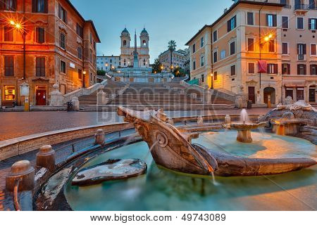 Spanish Steps at dusk, Rome, Italy poster