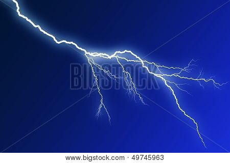 Flash lightning on blue background