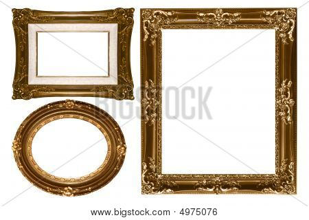 Oval And Rectangular Decorative Gold Empty Wall Picture Frames