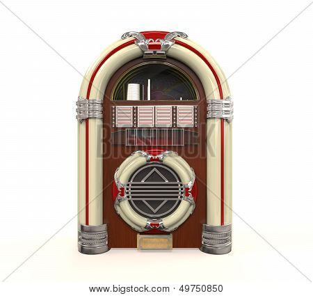 Juke Box Radio Isolated on white background. 3D render poster