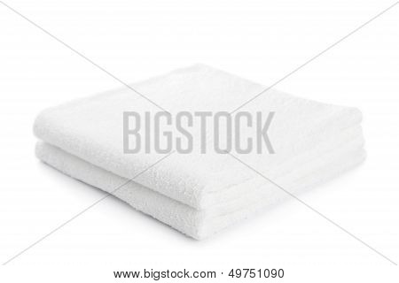 Stack Of White Towels Isolated