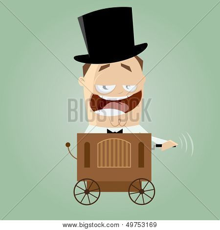 cartoon man with barrel organ