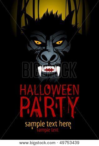 Halloween Party Design template with werewolf.