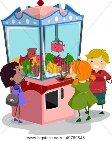 Stickman Illustration Featuring Kids Playing with a Claw Machine
