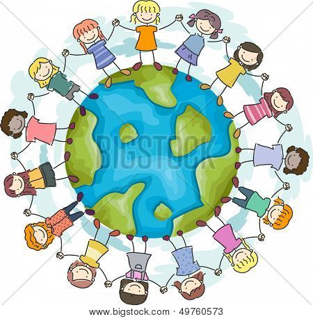 Doodle Illustration Featuring Girls with Hands Linked Together Encircling a Globe