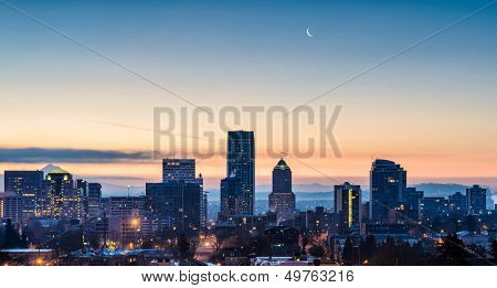 Sunrise over Portland with New Moon