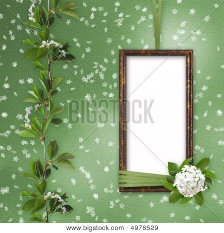 Green abstract background with frame and beautiful bouquet poster