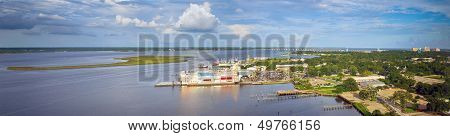 Biloxi, Mississippi back bay with casinos and other buildings in panoramic image