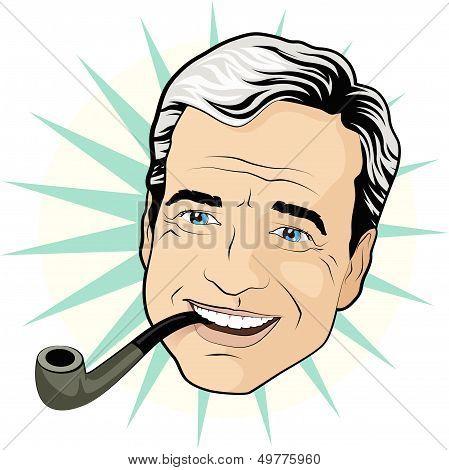 Vintage Pipe Smoking Gentleman