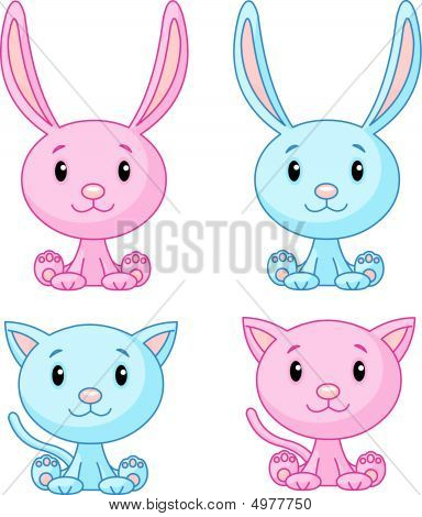 Cute cats and bunnies set. Vector illustration poster