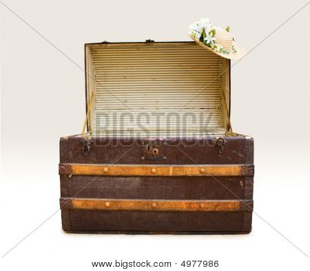 Antique Steamer Trunk With Straw Hat