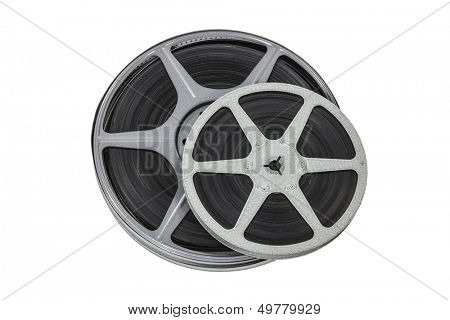 Vintage 8mm film reels isolated with clipping path.