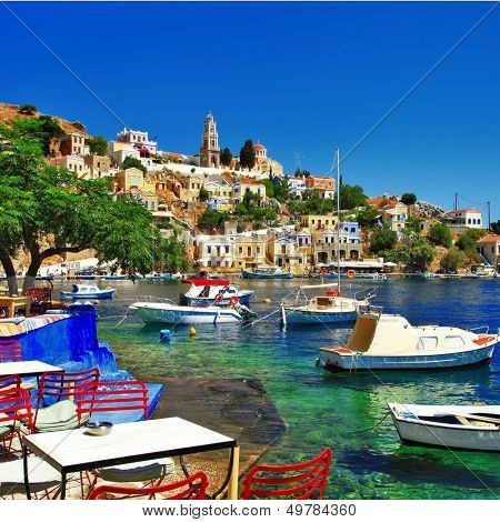 Halki - colorful small traditional island of Dodecanese, Greece
