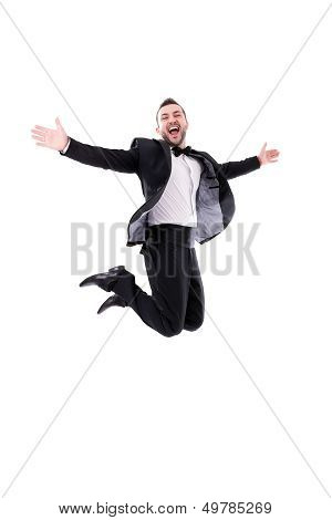 Man Laughing And Jumping Up, Enjoying His Success