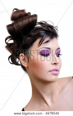 Close-up Face With  Bright Violet Make-up