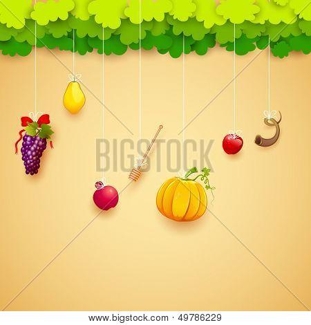 illustration of fruits hanging for Jewish festival