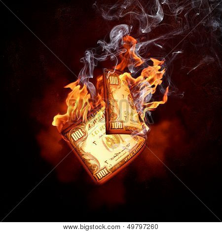 One hundred dollar burning banknote. Money concept poster