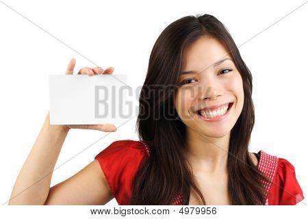 Woman holding blank Card / weiß Zeichen
