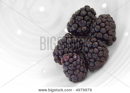 Blackberries Being Washed In Handmade White Porcelain Berry Colander