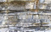 Sandstone sedimentary rock layers in cliff wall poster