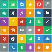 flat icons set - basic internet and mobile apps icons in flat design style (without shadow) poster