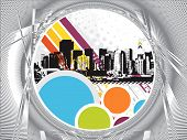 Urban grunge city with ring background - vector illustration poster