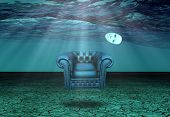 White Mask and armchair floats in underwater desert  poster