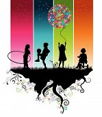 A colorful illustration of four kids while playing poster